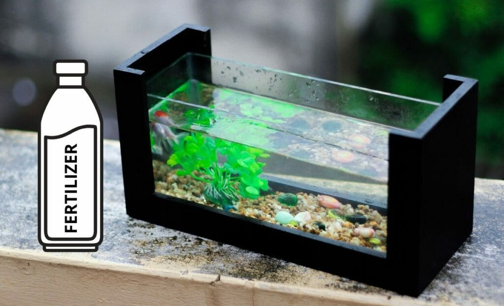 aquarium with fertilizer bottle