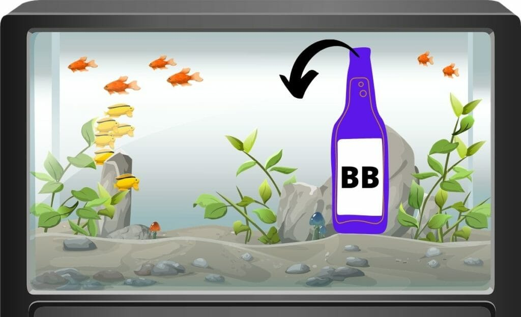 Fish tank image with a beneficial bacteria bottle