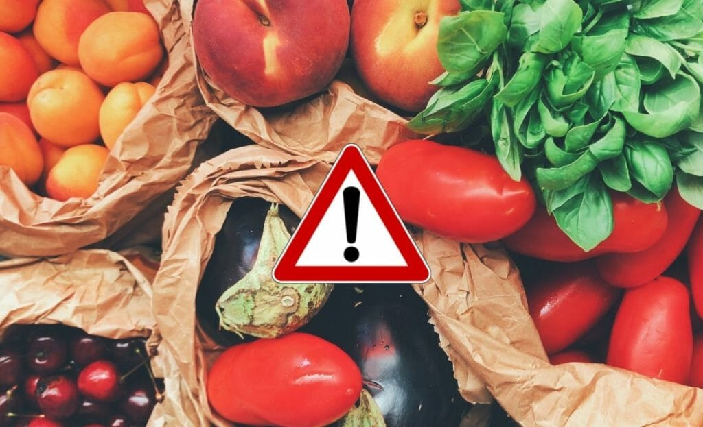 vegetables image with caution sign